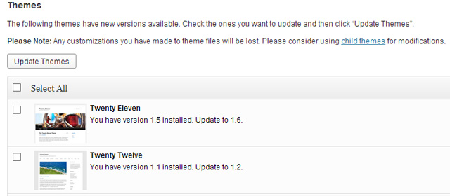 WordPress-default-Themes-Update