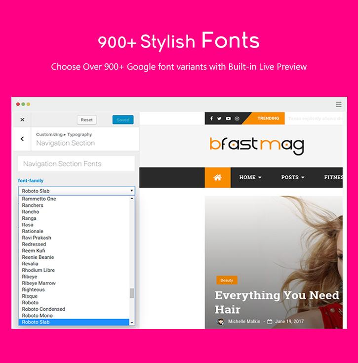 amazing 900+ Google Fonts wp Theme